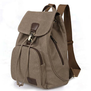 Women's Solid School Bag Backpack Canvas Solid Color Black / Coffee / Khaki