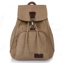 Load image into Gallery viewer, Women's Solid School Bag Backpack Canvas Solid Color Black / Coffee / Khaki