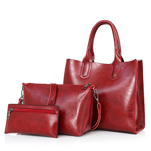 Women's Zipper Bag Set Bag Sets PU(Polyurethane) Red / Gray / Brown