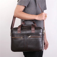 Load image into Gallery viewer, Men's Zipper Briefcase Nappa Leather Solid Color Dark Brown / Fall & Winter