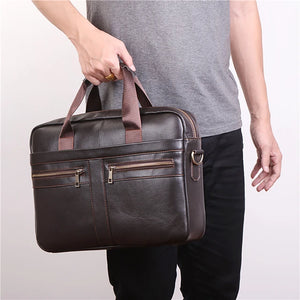 Men's Zipper Briefcase Nappa Leather Solid Color Dark Brown / Fall & Winter