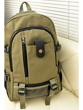 Load image into Gallery viewer, Unisex School Bag Backpack Canvas Brown / Army Green / Khaki