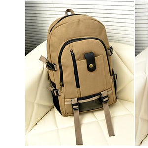 Unisex School Bag Backpack Canvas Brown / Army Green / Khaki
