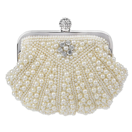 Women's Pearl / Crystal / Rhinestone Evening Bag / Bi-fold Rhinestone Crystal Evening Bags Polyester Solid Colored White / Beige / Cream