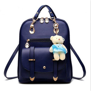 Women's Zipper School Bag Backpack PU(Polyurethane) Solid Color Sky Blue / Wine / Royal Blue