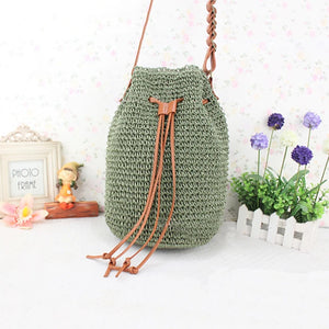 Women's Crossbody Bag Straw Bag Straw Solid Color Beige / Dark Green / Brown / Fall & Winter