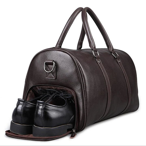 Zipper Travel Bag Cowhide Outdoor Black / Brown / Men's