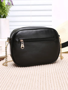 Women's Rivet Shoulder Messenger Bag PU(Polyurethane) Solid Color Black / Blushing Pink / Milky White