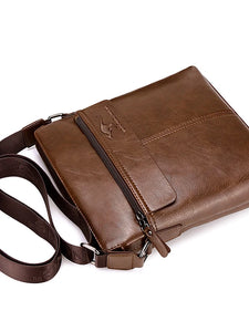 Men's Zipper Shoulder Messenger Bag PU(Polyurethane) Animal Black / Dark Brown / Khaki