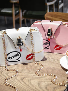 Women's Metal Chain Crossbody Bag PU(Polyurethane) White / Black / Blushing Pink