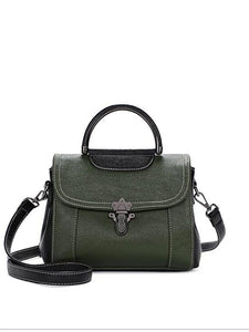 Women's Zipper Shoulder Messenger Bag Cowhide Green / Black / Red