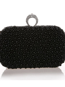Women's Beading / Imitation Pearl / Crystal / Rhinestone Evening Bag Rhinestone Crystal Evening Bags Satin / Metal Solid Colored Black / Beige / Champagne / Wedding Bags / Wedding Bags