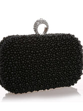 Load image into Gallery viewer, Women's Beading / Imitation Pearl / Crystal / Rhinestone Evening Bag Rhinestone Crystal Evening Bags Satin / Metal Solid Colored Black / Beige / Champagne / Wedding Bags / Wedding Bags