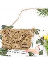 Load image into Gallery viewer, Women's Tassel Crossbody Bag Straw Solid Color Beige / Brown / Fall & Winter
