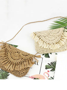 Women's Tassel Crossbody Bag Straw Solid Color Beige / Brown / Fall & Winter