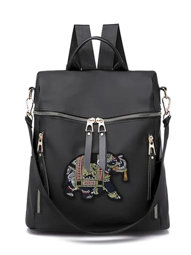 Women's Embroidery Commuter Backpack Article Glances Nylon Embroidery Black / Gray