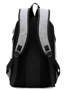 Men's Zipper School Bag Backpack Oxford Cloth Black / Gray / Purple