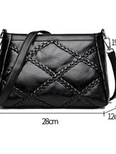 Load image into Gallery viewer, Women's Zipper Shoulder Messenger Bag PU(Polyurethane) Solid Color Black