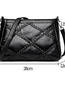 Women's Zipper Shoulder Messenger Bag PU(Polyurethane) Solid Color Black
