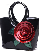 Load image into Gallery viewer, L.WEST® Women's Flower Tote PU(Polyurethane) Floral Print Dark Green / Fuchsia / Sky Blue