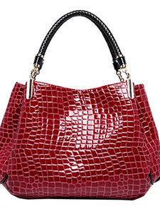 Women's Tote Patent Leather Crocodile Black / Dark Blue / Dark Red / Fall & Winter