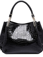 Load image into Gallery viewer, Women's Tote Patent Leather Crocodile Black / Dark Blue / Dark Red / Fall & Winter