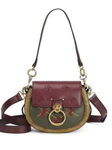 Women's Buttons Shoulder Messenger Bag Cowhide Color Block Brown / Wine / Dark Red