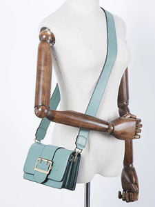 Women's Buttons / Zipper Crossbody Bag Leather / Cowhide Solid Color Green / Blushing Pink / Fall & Winter
