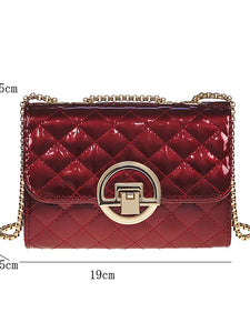 L.WEST® Women's Buttons / Chain Crossbody Bag Polyester / PU(Polyurethane) Lattice Black / Silver / Red / Fall & Winter