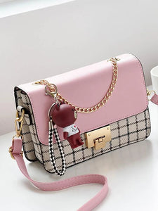 Women's Crossbody Bag PU(Polyurethane) Lattice Blushing Pink / Rainbow / Black / White / Fall & Winter