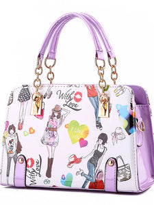 Women's Rivet Top Handle Bag PU(Polyurethane) Artwork Pink / Light Blue / Lavender