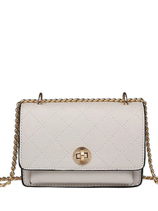 Women's Chain Crossbody Bag PU(Polyurethane) Lattice Milky White / Light Green / Khaki / Fall & Winter