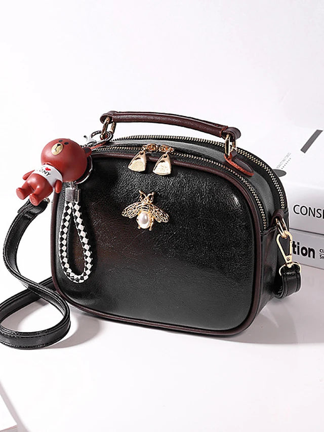 Women's Zipper Crossbody Bag PU(Polyurethane) Black / Red / Brown / Fall & Winter