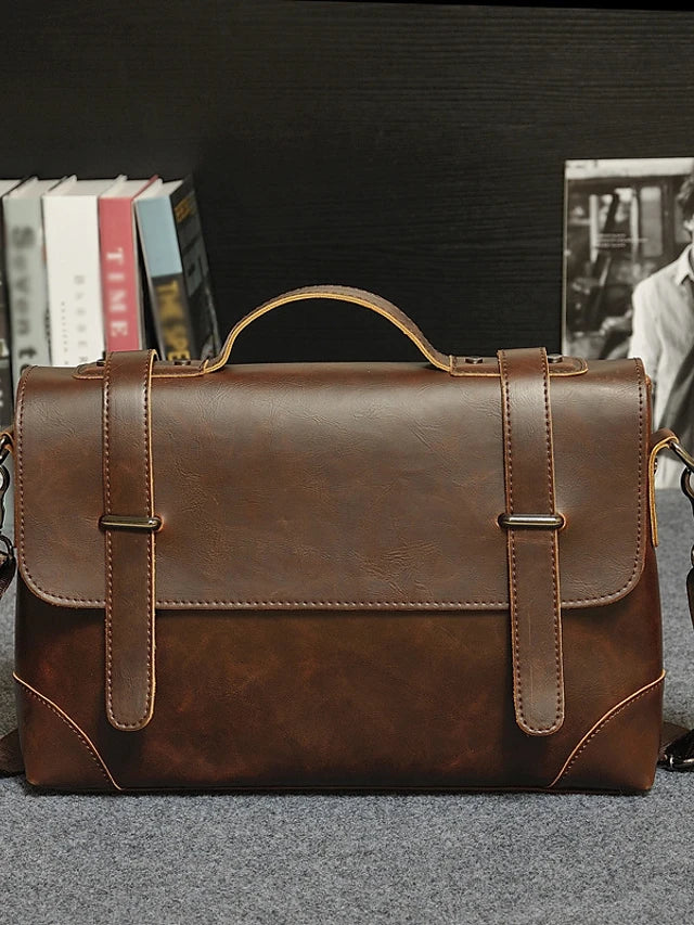 Men's Zipper Briefcase PU(Polyurethane) Black / Coffee / Fall & Winter