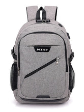 Load image into Gallery viewer, Unisex Zipper School Bag Backpack Canvas Solid Color Black / Gray / Purple