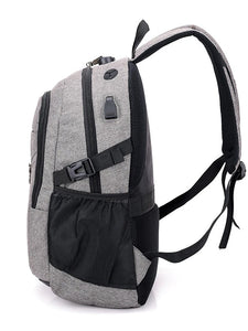 Unisex Zipper School Bag Backpack Canvas Solid Color Black / Gray / Purple