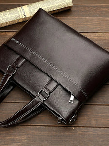 Men's Zipper Briefcase Cowhide Black / Brown