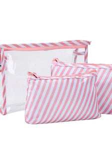 Waterproof Zipper Cosmetic Bag PVC(PolyVinyl Chloride) Daily Gray / Sky Blue / Pink