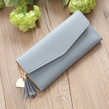 Load image into Gallery viewer, Fashion Women Faux Leather Long Wallet Card Slot Tassel Heart Charm Purse Clutch