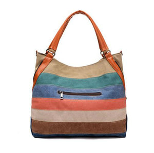 Striped Canvas Handbags Women Large Capacity Bags