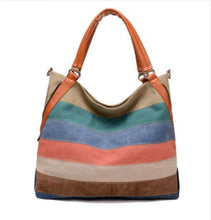 Load image into Gallery viewer, Striped Canvas Handbags Women Large Capacity Bags