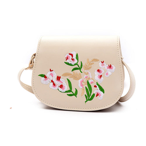 Brand PU Leather Embroidery Flower Shoulder Bags Folk Mini CrossBody Bag Rivet Waves Bags Purse