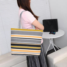 Load image into Gallery viewer, Fashion Canvas Striped Rainbow Prints Shoulder Tote Bag Women Casual Handbag