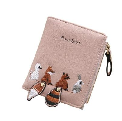 Women's Wallet Lovely Cartoon Animals Short Leather Female Small Coin Purse Hasp Zipper Kid Purse Card Holder For Girls