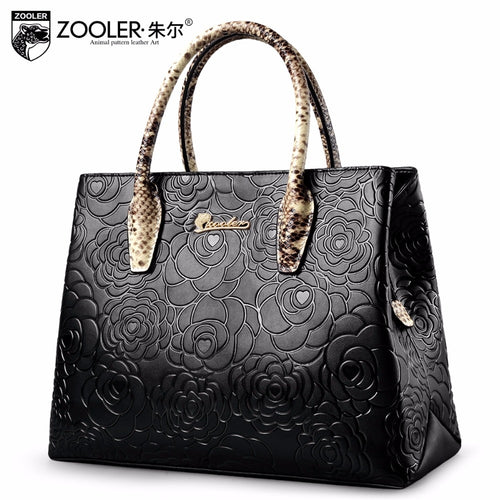 Elegant pattern genuine leather bag tote ZOOLER handbag women bag cowhide leather shoulder bags bolsa feminina