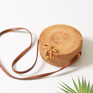 Round Straw Bags  Rattan Bag Handmade Woven  Body Bag Circle Bohemia Handbag