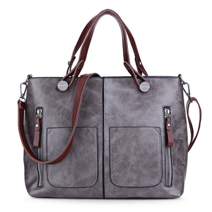 Vintage PU Shoulder Bag Female Causal Tote for Daily Shopping