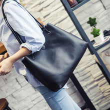 Load image into Gallery viewer, 2 Pcs/Set Women Bucket Bag Faux Leather Shoulder Bag Tote Handbag Clutch Gift