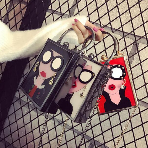 Handbags Personality PU leather Women bag Acrylic Cartoon Chain Shoulder Messenger bag
