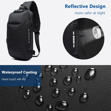Load image into Gallery viewer, OZUKO Multifunction Crossbody Bag for Men Anti-theft Shoulder Messenger Bags Male Waterproof Short Trip Chest Bag Pack